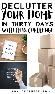 Are you too busy and overwhelmed to declutter your home? Most people are! That's why it may be a smart idea to partake in a thirty day challenge. This 30 day declutter challenge helps you break down decluttering your entire home in small manageable tasks that anyone can handle. #ladydecluttered #30daydeclutterchallenge #declutterchallenge #howtodeclutteryourhome #declutteringandorganizing #timemanagement #declutter