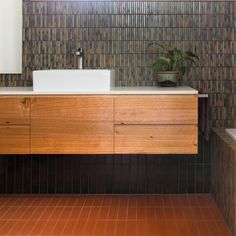 """TILES Brave New Eco on Instagram: """"The sister bathroom in #bungalowupcycleproject in 2016  matching vanities and fixtures with a darker, earthier palette -"""" Double Vanity, Earthy, Bungalow, Brave, Tiles, Sisters, Palette, Vanities, Dark"""
