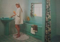 """Home decor trends constantly change. What was once trendy may now be tacky. Here are 30 """"classic' home decor trends that make us cringe today! Classic Home Decor, Retro Home Decor, Classic House, Home Decor Trends, Bathroom Renovation Cost, Vintage Bathrooms, 50s Bathroom, Open Bathroom, Gifs"""