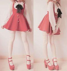 dress kawaii red skirt cute shoes blouse japan japanese japanese fashion korean fashion korean style harajuku Source by whywewerehere Dresses kawaii K Fashion, Lolita Fashion, Cute Fashion, Asian Fashion, Fashion Outfits, Cute Korean Fashion, Clueless Fashion, Grunge Fashion, Kawaii Dress