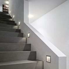 The Zen In M wall recessed light was designed and made by Nimbus in Germany. This modern LED fixture is an efficient and elegant lamp that is perfectly suitable for near-ground installation for any use home or office. The light output of the Zen I. Recessed Wall Lights, Recessed Light, Foyers, Stairway Lighting, Modern Stairs, Contemporary Stairs, Staircase Remodel, Long Walls, Stairs Architecture