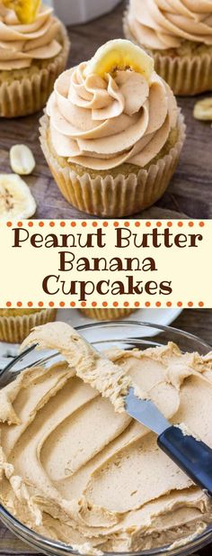 cupcake recipes These peanut butter banana cupcakes start with moist banana cupcakes that have a delicious banana bread flavor and soft cupcake crumb. Then theyre topped with peanut butter frosting for the perfect peanut butter banana combo. Banana Bread Cupcakes, Banana Frosting, Buttercream Frosting, Banana Bread Muffins, Chocolate Buttercream, Food Cakes, Cupcake Cakes, Muffin Cupcake, Sweets Cake