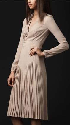 Burberry Prorsum, pleated silk dress.