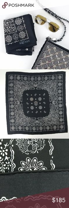 """Alexander McQueen Silk Skull Scarf Bandana Gorgeous!!! 100% silk Made in Italy Hand rolled hem 24"""" square Excellent condition - like new!! Alexander McQueen Accessories Scarves & Wraps"""