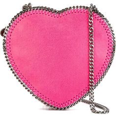 Stella McCartney 'Falabella Heart' crossbody bag ($780) ❤ liked on Polyvore featuring bags, handbags, shoulder bags, leather cross body purse, crossbody shoulder bags, faux leather crossbody, pink leather handbag and pink crossbody