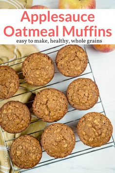 These easy healthy applesauce muffins are packed with hearty oatmeal, whole wheat flour, and Greek yogurt. Full of apple and cinnamon flavor and a favorite for kids! #breakfast #snack #freezerfriendly #kidfriendly #makeahead #quickandeasy Apple Oatmeal Muffins, Applesauce Muffins, Recipe With Applesauce, Recipes With Unsweetened Applesauce, Healthy Oatmeal Muffins, Healthy Muffins For Kids, Baking With Applesauce, Weight Watcher Muffins, Greek Yogurt Muffins