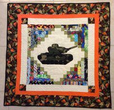 Army Tank Applique Patchwork Quilt Lap Quilt
