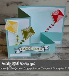 Super Cute Fun Fold card using the Swirly Bird Stamp Set and Swirly Scribbles Thinlits by Stampin Up