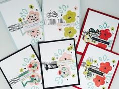 One design and Six easy cards with layers built on the background stamping. Great inspiration for a simple one layer card or adding embellishments from the k...