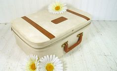 Vintage Saddle & Tan Vinyl SuitCase  Shabby Chic by DivineOrders, $29.00