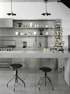 Concrete and stainless steel kitchen