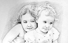 Zwei Kinder Bleistiftzeichnung