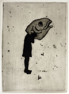 Fish head by Kyoko Imazu Available from www.cascadeprintroom.com.au We ship worldwide
