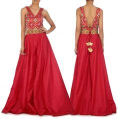 SHRUTI SANCHETI. Cherry Red Backless Jumpsuit with Pochampali Bodice