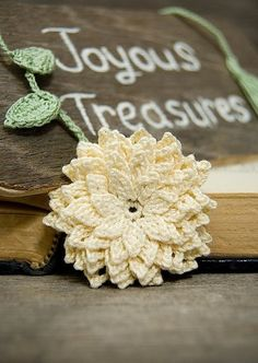 A lovely cream dahlia flower bookmark! Bring the feel of a fresh spring flower garden right into your reading. My bookmarks are wonderful little gifts.    About:  This lovely handmade crochet bookmark has layers of pointed petals. It is modeled after the Akita Dahlia flower.  RSVP: http://handmadeology.com/mothersday  Handmadeology Mother's Day Live Auction: May 5, 8pm EST
