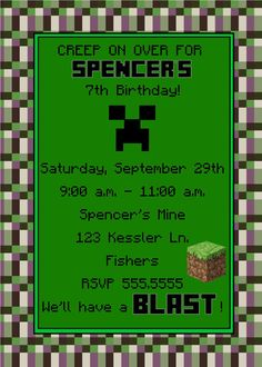 Digital Minecraft Inspired unofficial by spencervillejunction, $8.00 - printable invitation with available thank you card for a Minecraft themed party