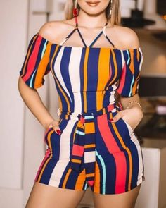 boutiquefeel / Colorful Striped Cold Shoulder Romper Colorful Striped Cold Shoulder Romper - Jumpsuits and Romper Two Piece Rompers, Cold Shoulder Romper, Rompers Women, Pattern Fashion, Fashion Outfits, Fashion Trends, Summer Outfits, Clothes For Women, Women's Clothing