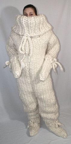 12 kg Catsuit gigantic monster turtleneck catsuit chunky wool jumpsuit thick knit merino sheep wool for men hand knitted Strickolino Chunky Knitting Patterns, Baby Hats Knitting, Hand Knitting, Crochet Patterns, Catsuit, Pullover Design, Sweater Design, Wooly Jumper, Wool Sweaters