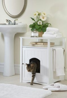 Cat Washroom : No more mess from cat litter boxes. The Cat Washroom serves as an attractive cover to hide away the litter box and confine all litter messes inside, while providing useful shelf space and stainless steel towel bar for many organizing o Hidden Litter Boxes, Litter Box Covers, Cat Litter Box Enclosure, Dog Enclosures, Dog Sofa Bed, Dog Beds, Pet Furniture, Bathroom Furniture, Table Furniture