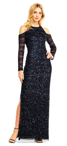 e69bef9c25890 Aidan Mattox - MD1E201685 Cold Shoulder Sleeves Sequined Gown