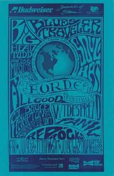 Original concert poster for Widespread Panic, Big Head Todd and the Monsters and Blues Traveler at The Horde Festival at Red Rocks in 1993. 11x17 inches on thin paper.