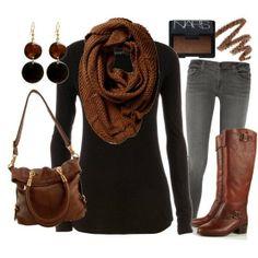 Dark brown scarf black sweater denim pants hand bag and long boots