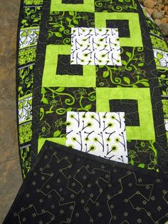 Black and Green Geometric Table Runner by PatchworkMountain