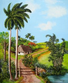 Purchase paintings from Dominica Alcantara. All Dominica Alcantara paintings are ready to ship within 3 - 4 business days and include a money-back guarantee. Village Photography, Sunset Photography, Beautiful Landscape Paintings, Watercolor Landscape, Fantasy Landscape, Winter Landscape, Village Scene Drawing, Cuban Art, Time Painting