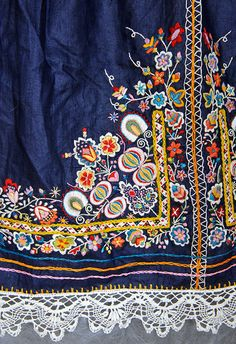 Czech folk embroidered apron - vibrant pinks,reds, greens, acid yellows, on deep…