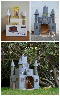 This Kids Castle Crafts is another amazing project to do with your kids. This castle will entertain your kids for hours. Cardboard Box Crafts, Cardboard Castle, Paper Roll Crafts, Diy And Crafts, Arts And Crafts, Cardboard Box Ideas For Kids, Cardboard Playhouse, Cardboard Furniture, Projects For Kids