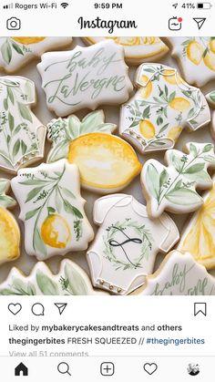 Lemon and greenery baby shower idea. Baby Cookies, Flower Cookies, Baby Shower Cookies, Iced Cookies, Cute Cookies, Royal Icing Cookies, Lemon Party, Lemon Sugar Cookies, Paint Cookies