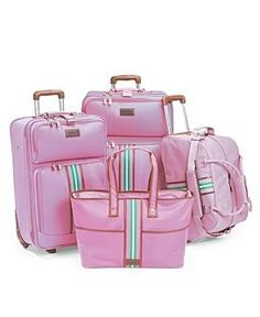 Pink and green Tommy Hilfiger luggage - I already have the small rolling suitcase!! I would love the whole set!