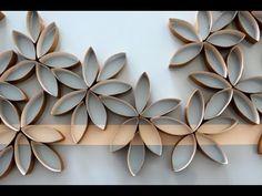 flower wall art using toilet paper rolls.