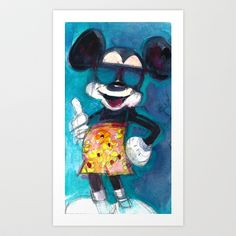 Mickey Mouse Blues Art Print by Dorrie Rifkin Watercolors - $17.00