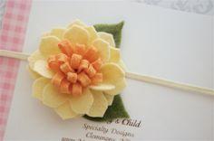 Felt Flower Headband in Spring Daffodil  - Newborn Headbands, Baby Headbands, Baby Girl Headbands. $7.95, via Etsy.