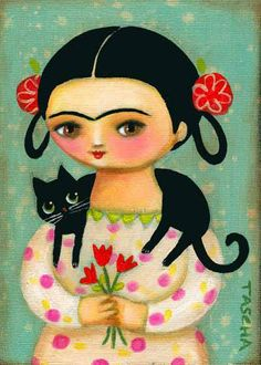 FRIDA KAHLO black cat original painting frida with by tascha Cat Painting, Original Paintings, Illustration, Drawings, Kahlo Paintings, Painting, Whimsical Art, Art, Mexican Art