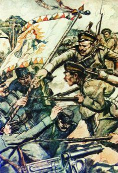 Russian soldiers capturing an Austrian regimental colour