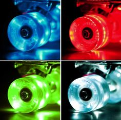 Set of 4 LED Light-up Skateboard Wheels with ABEC-7 Bearings - Smoother Quieter Ride - 60x45mm - CHECK OUT @ http://www.myvacationdestinations.com/store/set-of-4-led-light-up-skateboard-wheels-with-abec-7-bearings-smoother-quieter-ride-60x45mm/?a=9018