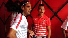Radamel Falcao y Alexis Sánchez se reencontraron en Londres. August 03, 2014.