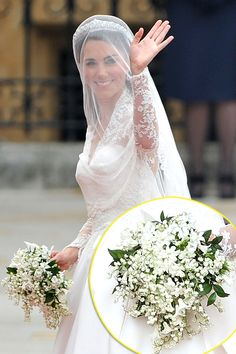 Kate Middleton's Wedding Bouquet: In the bridal bouquet was lily-of-the-valley, symbolizing a return to happiness. Also included were white hyacinths for constancy and Sweet William for gallantry (and the groom of course). For foliage, myrtle was taken from a a sprig from a plant grown from the myrtle used in The Queen's wedding bouquet of 1947.