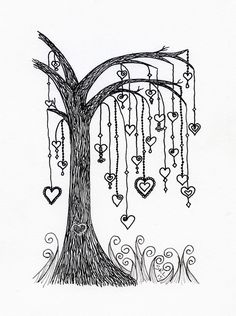 Willow tree with heart dangles. I designed this for my younger sister Line. Zentangle by Sandy Rosenvinge Lundbye Doodle Art Drawing, Zentangle Drawings, Doodles Zentangles, Zen Doodle, Heart Doodle, Hand Lettering Alphabet, Doodle Lettering, Doodle Patterns, Zentangle Patterns