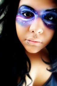 Galaxy makeup… That's cool. Galaxy makeup… That's cool. Sfx Makeup, Costume Makeup, Makeup Art, Beauty Makeup, Hair Makeup, Make Up Designs, Galaxy Makeup, Chesire Cat, Fantasy Make Up
