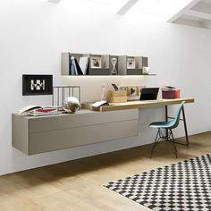 The modern dresser with two drawers can optionally be ordered with a narrow desk and shelf. desk # Design Furniture up Source by sabine_rohnert Home Office Space, Home Office Design, Office Desk, Desk In Living Room, Bedroom Desk, Küchen Design, Interior Design, Small Hallways, Modern Dresser