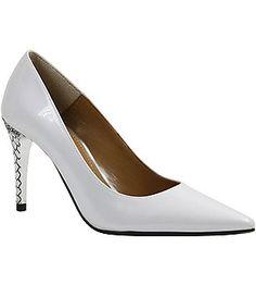 J. Renee Maressa Pearlized Patent Metal Embossed Heel Pumps