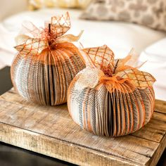 Gorgeous DIY Book Print Paper Pumpkins home decor. This Paperback Pumpkins Craft Kit is only available while supplies last so don't miss out!