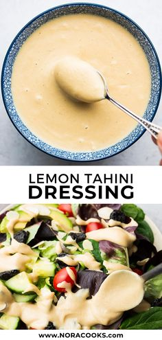 This tangy and sweet lemon tahini dressing is perfect on everything! Drizzle on salads, buddha bowls, falafel, veggie burgers or even cooked vegetables. Only 3 ingredients (+ salt/water). for pasta dinner Lemon Tahini Dressing Salad Recipes, Diet Recipes, Vegetarian Recipes, Cooking Recipes, Healthy Recipes, Lemon Tahini Dressing, Vegan Sauces, Soup And Salad, Whole Foods