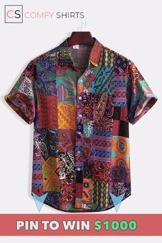 Mens Ethnic Style Floral Printing Shirt Cotton Seaside Short Sleeve Loose Ethnic Style Casual Shirt is designer and cheap on Newchic. Style Casual, Men Casual, Casual Tops, Trendy Style, Smart Casual, Men's Style, Stand Collar Shirt, Collar Shirts, Cheap Mens Fashion