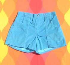 vintage 80s OP corduroy shorts ocean pacific cord surf teal Medium 36 Large Teal Blue, Blue Green, Corduroy Shorts, Op Logo, Beach Boardwalk, Back Patch, One Back, Vintage Shorts, Casual Shorts
