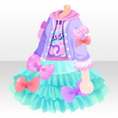 (Tops) Sweet Pop Ribbon on Hoodie Dress ver.A.jpg