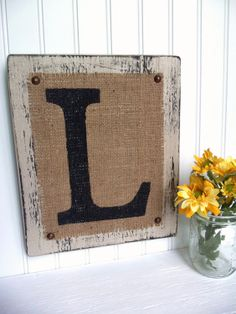 Rustic Letter Sign, Burlap painted monogram